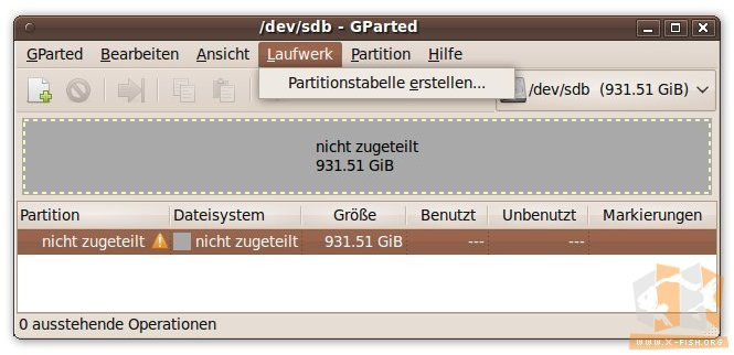 gparted: Partitionstabelle erstellen
