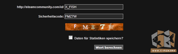 Steam Calculator: Die Steam-ID und das Captcha eingeben