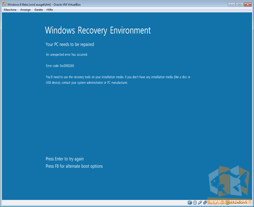 Windows 8 CP: Installation schlägt permanent fehl
