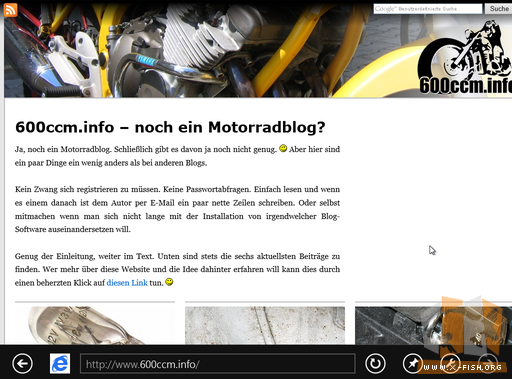 Windows 8 CP: Website mit InternetExplorer aufgerufen (Metro)