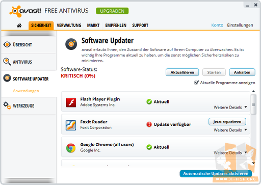 Avast 8: »Software Updater«