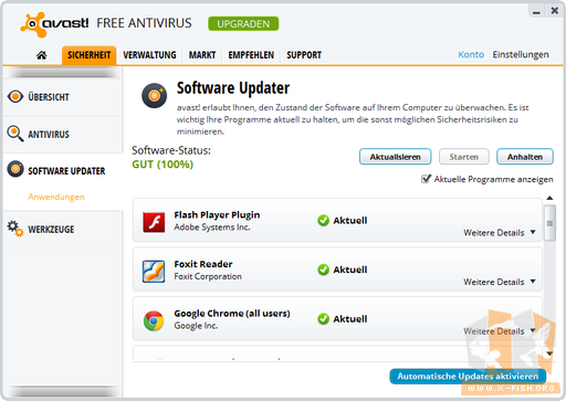 Avast: »Software Updater« bei 100%
